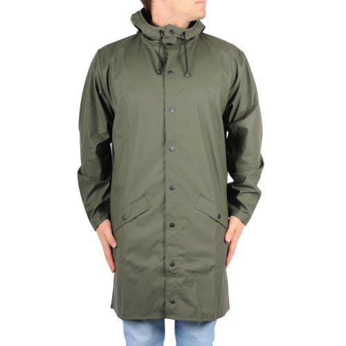 Rains Herren Regenmantel Long Jacket, grün, Small/Medium (Herstellergröße: Small/Medium)
