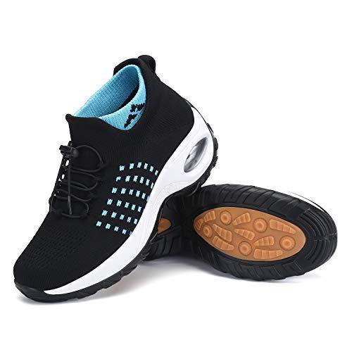 Zapatos Deportivas Mujer Zapatillas Running Transpirable Calzado Casual Ligero Bambas para Caminar Azul, Gr.38 EU