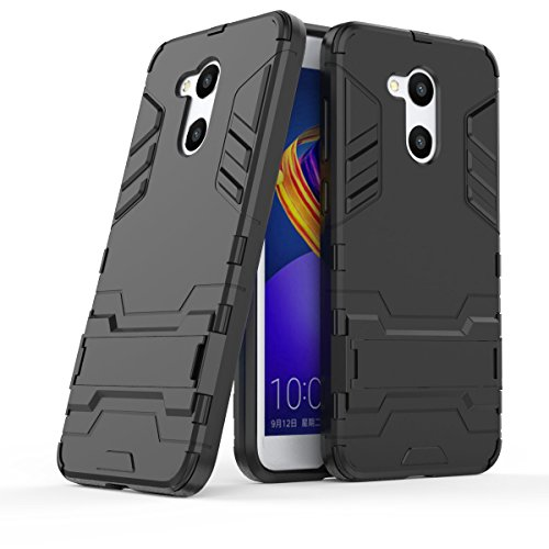 Huawei Honor 6C Pro Hülle, Huawei Honor V9 Play Hülle, MHHQ Hybrid 2in1 TPU+PC Schutzhülle Rugged Armor Hülle Cover Dual Layer Bumper Backcover mit Ständer für Huawei Honor V9 Play -All Black