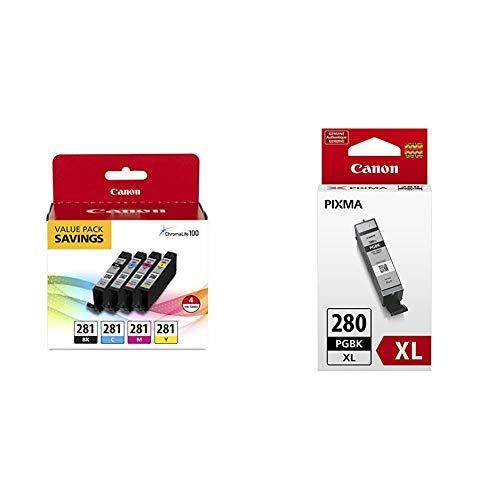 Canon CLI-281 Black, Cyan, Magenta and Yellow 4 Ink Pac, Model:2091C005 & nk 2021C001 PGI-280 XL Pigment Black Ink