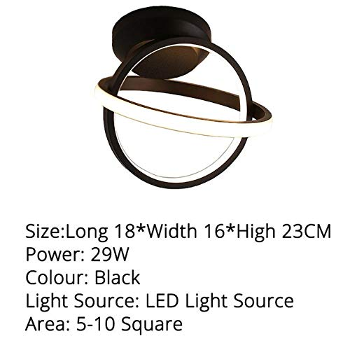 WFSDKN Moderne plafondlamp, wit/zwart, vierkant, rond, woonkamerlamp