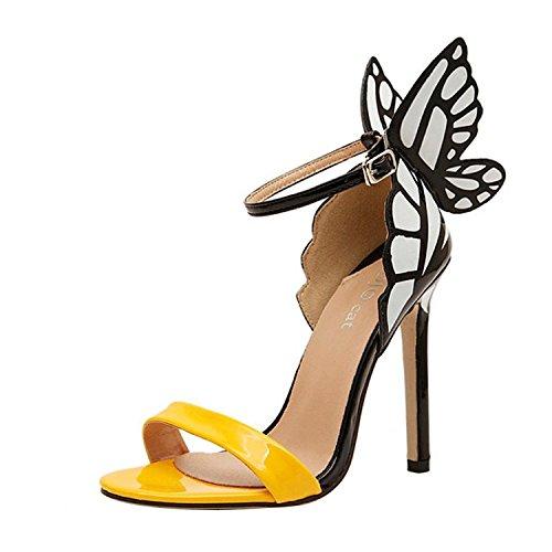 Minetom Damen Frauen Sommer schleife Schmetterling Schuhe High Heel Sandalen Pumps Abendschuhe ( Gelb EU 40 )