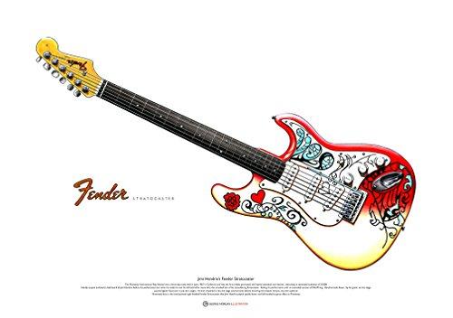 George Morgan Illustration Fender Stratocaster Arte Cartel de Jimi Hendrix según lo Utilizado Monterey de tamaño A2