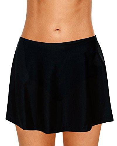 Dolamen Women Swim Skirt Shorts, 2018 Ladies Girls Swimwear Bottoms with Brief Short Skirted Mini Bikini Swimming Costumes Swimsuit Beachwear (X-Large, Negro)