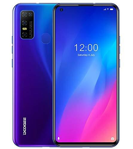 Téléphone Portable Débloqué DOOGEE N30 (4 Go RAM+128 Go ROM), Smartphone Android 10, Écran Perforé HD+ 6,55 Pouces, Double Carte SIM+Carte SD Dédiée 256 Go, Batterie 4500mAh, Caméra AI 16MP Bleu