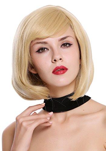 WIG ME UP - ZM-1703-86H613 Perruque dame courte carré raie blond platine mèches blondes
