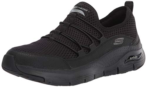Skechers Arch Fit, Zapatillas Mujer, Negro (Black Mesh/Trim Bbk), 38 Eu