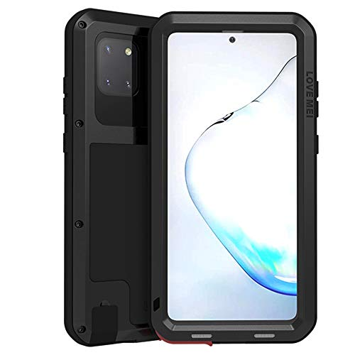 LOVE MEI Galaxy Note 10 Lite Case, Military Heavy Duty Shockproof Dustproof Hybrid Aluminum Metal+Silicone+Tempered Glass Drop Protection Case Cover for Samsung Galaxy Note 10 Lite (2020) (Black)