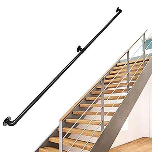 KUKU-handlauf 30-600cm Treppengeländer nach Maß, rutschfeste Schwarze Schmiedeeisen-Rohrgeländer, Treppengeländer für ältere Kinder im Innen- und Außenbereich