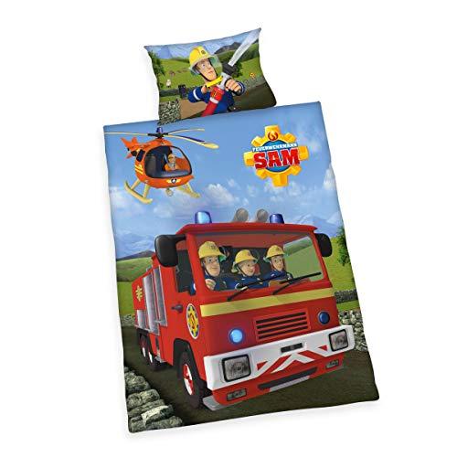 Herding Feuerwehrmann Sam Bettwäsche- Set, Baumwolle, mehrfarbig, 40 x 60 cm, 100 x 135 cm