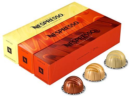 Nespresso Vertuo Barista Creations Vanilla Custard Pie, Caramel Cookie, Hazelino Muffin, 30 Kapseln