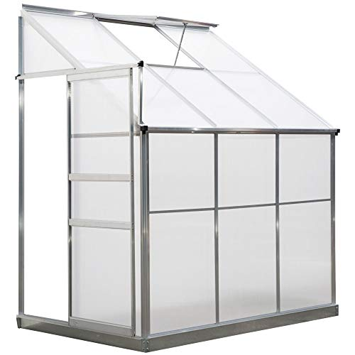 Outsunny Walk-In Lean to Greenhouse Garden Heavy Duty Aluminium Polycarbonate with Roof Vent Plants Herbs Vegetables (6...