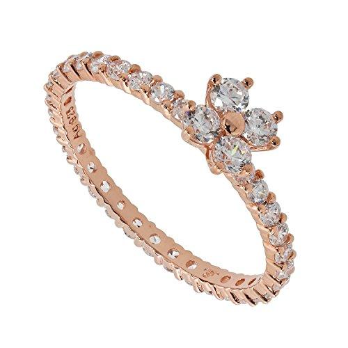 Judith Williams Touch of Diamonds Damen-Ring Sterling-Silber 925 rosévergoldet Zirkonia weiß Brillantschliff RW21