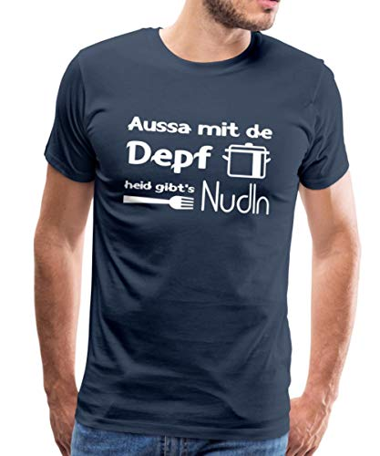 Kochen Dialekt Aussa Mit De Depf Heid Gibt's Nudln Männer Premium T-Shirt, XL, Navy