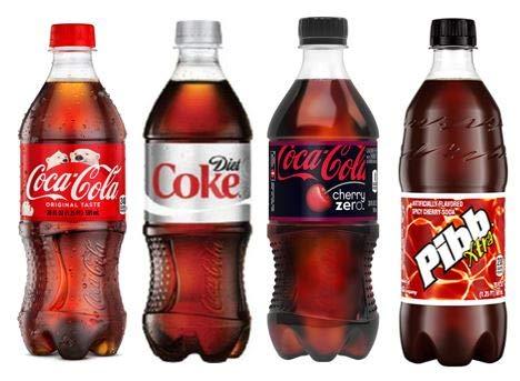 20oz Coca-Cola variety pack Soda bottles (Coke Classic, Diet Coke, Coke Zero Cherry, and Pibb xtra Total of 240 fl oz)