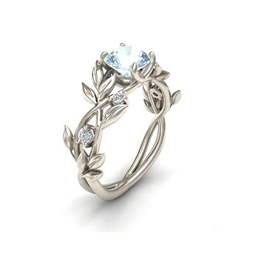 BQZB Ehering Kristall Silber Farbe Ringe Weinblatt Design Verlobung Zirkonia Ring Mode für Frauen Damen Schmuck Geschenke