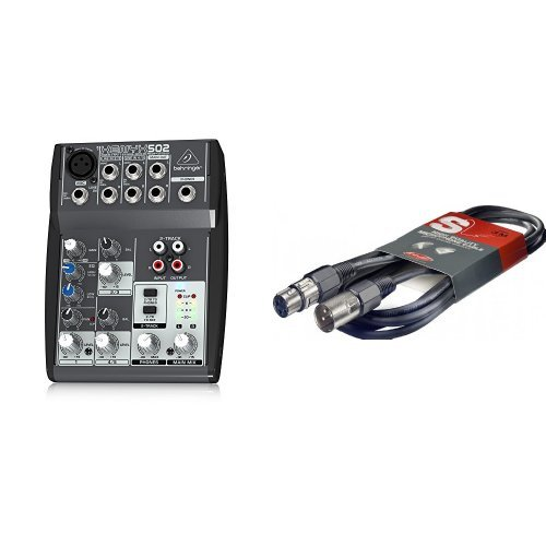 Behringer XENYX 502 Mischpult + Mikrofonkabel High Quality - 3 Meter - 1x XLR Male - 1x XLR Female Bundle