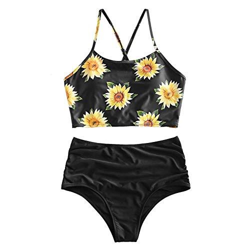 ZAFUL Damen Sexy Sonnenblume Drucken Schnüren Criss Cross Hoher Schnitt Bikini Set Badeanzug