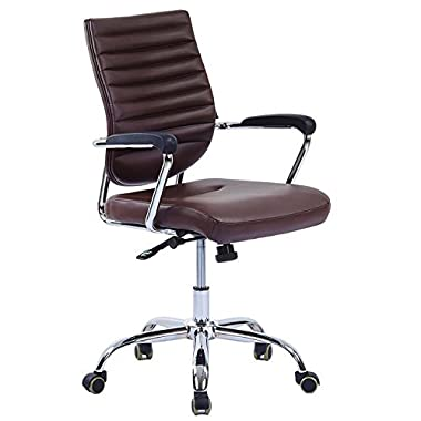 LSCING Ergonomic Mid-Back Office Chair- Leather Swivel Task Desk Computer Chair, Nut Brown