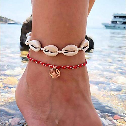 Edary Beach Shell Anklet Gold Seashell Anklets Bracelet Woven Foot Jewelry for Women and Girls(2Pcs)