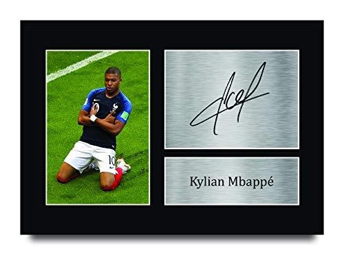HWC Trading Kylian Mbappe Frankreich Gifts gedrucktes Autogramm für Fans und Fans – A4