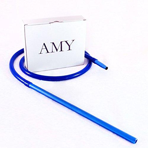 AMY Schlauchset mit Alu Mundstück - matt - blau | Silikon-Schlauchset für Shisha