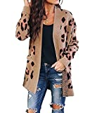 ZESICA Women's Long Sleeves Open Front Leopard Print Knitted Sweater Cardigan Coat Outwear with Pockets,A Khaki,Small