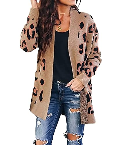 ZESICA Women's Long Sleeves Open Front Leopard Print Knitted Sweater Cardigan Coat Outwear with Pockets,A Khaki,Large