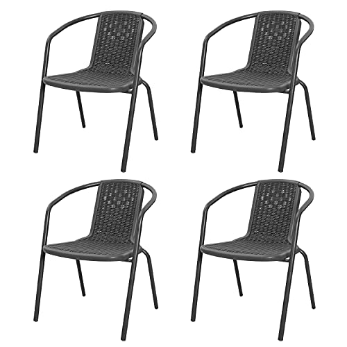 Fukea Rattan Garden Chairs Set of 4 Stackable Patio Chairs Indoor Outdoor Dining Chairs (Black-4 Pcs)