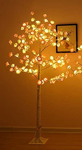Árbol de Luz LED, Lámpara de Luz de árbol Bonsai Tree Lámparas de Escritorio Artificiales Blanca Cálida, Luces de árbol Decoración de Habitación Luz de Noche,Casa Boda Navidad (Rose flower,150cm)