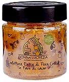 Donna Lucrezia - Mermeladas artesanales - 240 gramos - Sin gluten, vegano - 100% natural - Hecho en Sicilia (Peras y granos de cacao)