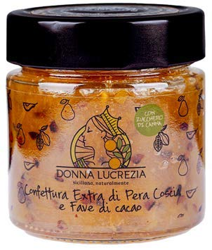 Donna Lucrezia - Coscia Pears Artisanal Extra Jam with Roasted Cocoa Beans - 240 Grams - Gluten Free, Vegan Free - 100% Natural - Made in Italy