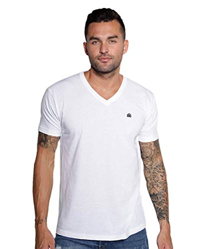 INTO THE AM Men's V Neck Tee Shirt Ultra Soft Comfort Short Sleeve Modern Fitted Plain Heathered Vneck Tshirt for Guys (White, Small)