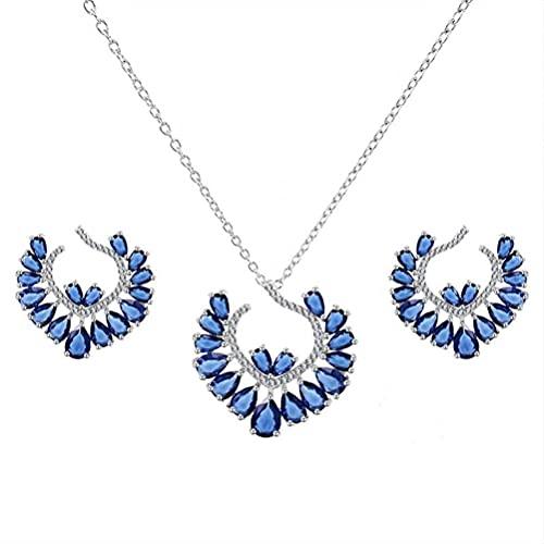 GYUFU Collar de Regalo para Mujer Conjunto de Joyas para Mujer, Collar con Conjunto de Circonitas, Pendientes de Cena de Estilo Europeoazul