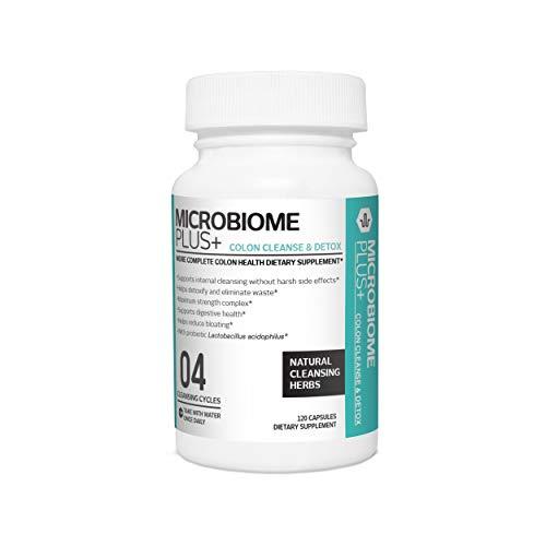 Microbiome Plus Colon Cleanse Probiotic Natural Detox Maximum Strength 120 Capsules 4 Cleansing Cycles per bottle