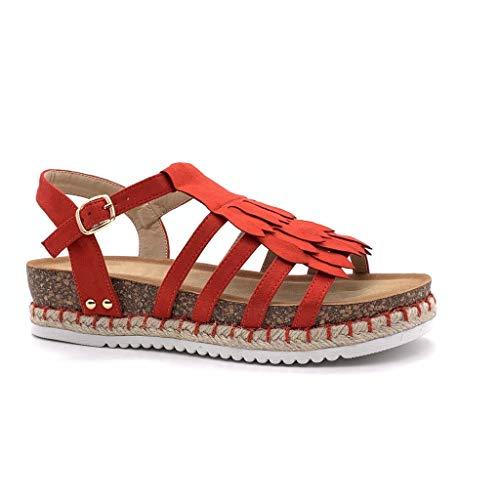 Angkorly - Damen Schuhe Sandalen - Römersandalen - Bequeme - Offen - Fransen - mit Stroh - Kork Keilabsatz high Heel 4 cm - Rot FD-43 T 40