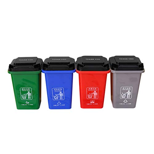 FORUU 4pc Garbage Classification Pen Trash Can Home Game Props Identification Bucket,Portable Household Trash Can,Debris Sorting Trash,Waste Basket,Small Trash Can,Best for Home Office Kitchen
