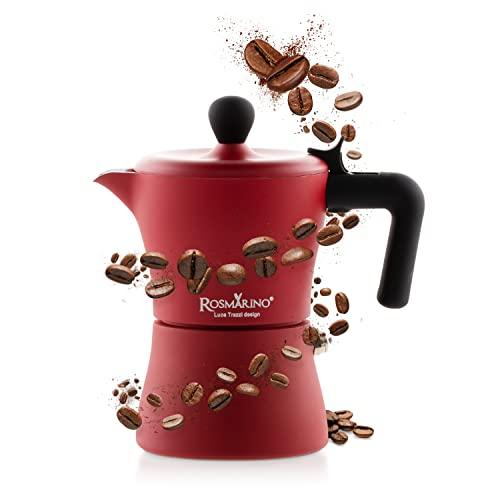 Rosmarino kuchenka ekspres do kawy, 3 kubki – dzbanek do kawy marki Moka nadaje się do płyt indukcyjnych i innych płyt kuchennych – do autentycznej kawy w stylu włoskim (czerwony)