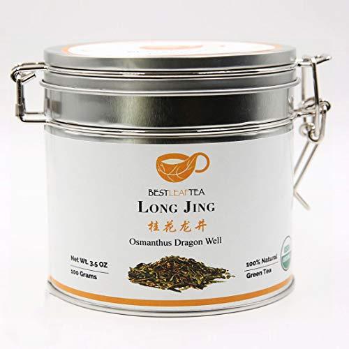 BESTLEAFTEA-Spring Picked Organic Osmathus DragonWell/LongJing Green Tea 100g/3.5Oz