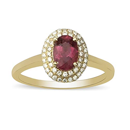 ILIANA 18ct Yellow Gold AAAA Rubellite Halo Ring for Womens Anniversary/Wedding/Proposal Gemstone Jewellery Size T with White Diamond SI/G-H, TCW 1.05ct