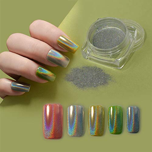 MEILINDS 0.5g Holographic Laser Rainbow Nail Powder Mirror Effect Nail Art Pigment Glitter Dust