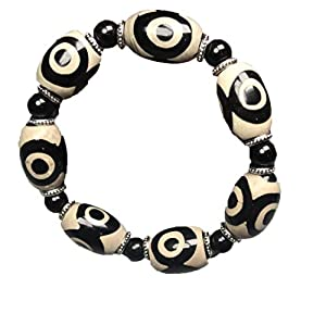 ZHIBO Armband, tibetisch, alter Achat, dzi Perlen, Armband mit Zertifikat