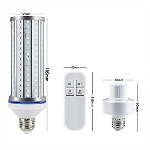 Stecto UV Lampe Desinfektion, 60W E27 Effiziente UV-Keimtötungslampe, LED-Maislampe mit ferngesteuertem Timer, keine Chemikalien, für die Haushaltsreinigung