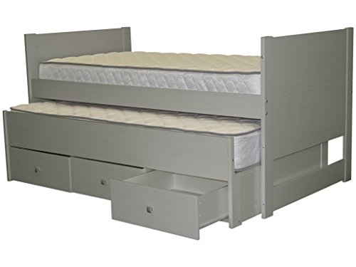 Bedz King Captains Twin Bed with Twin Trundle and 3 Drawers, Gray