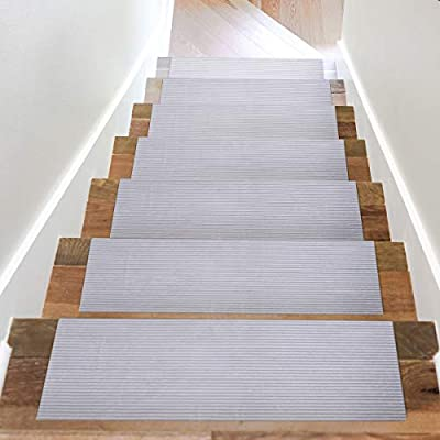 Acrabros Carpet Stair Treads Non-Slip (8.7 inch x 26 inch?Set of 7) Indoor, Heavy-Duty Safety Step Covers   Slip-Resistant Backing, No Adhesive   Soft, Light Gray Fabric   Washable and Reusable