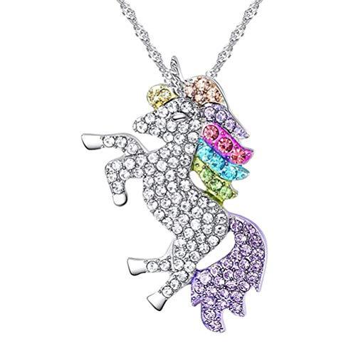 Beuya Unicornio Conjuntos Collares para Mujer, Mode Arcoiris Unicornio Collar con Colgante, Mejor Regalo Fiesta para Novia y Mujer (Plata)