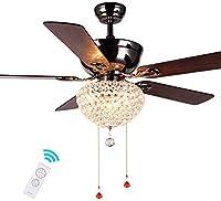 モダンカントリースタイルの天井ファンライト、リビングルームダイニングルーム装飾ファン照明シャンデリア5木製ブレード、リモコン52インチ