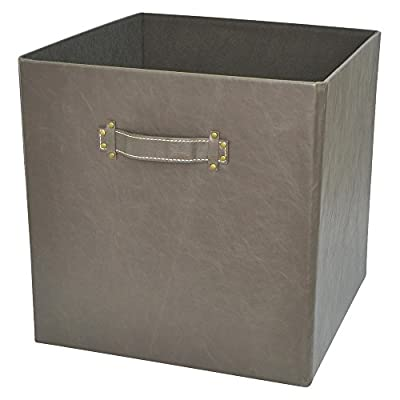 Threshold Faux Leather Fabric Cube Storage Bin - Hot Coffee