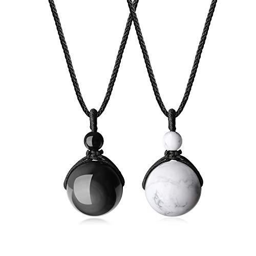 COAI Colgantes Bola para la Pereja de Obsidiana y Howlita