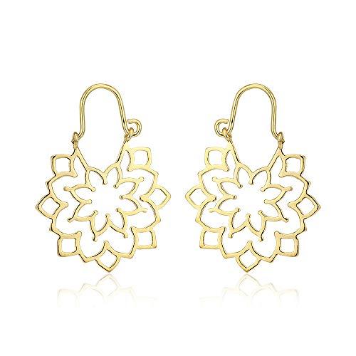 Vanbelle 18k monili placcati oro della boemia di stile vintage fiocco di neve-floreale in filigrana orecchini per le donne e le ragazze